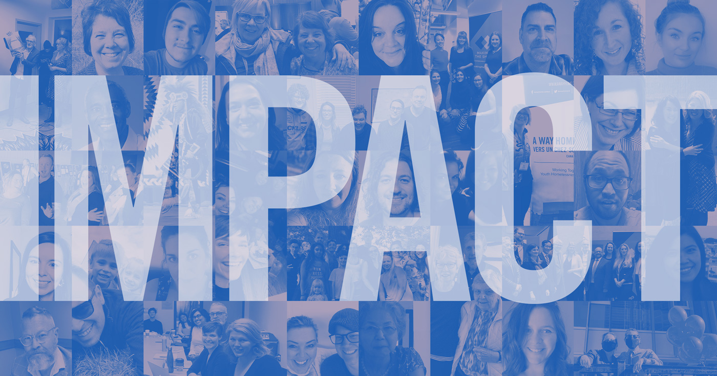 Mosaic of photo of people with the word impact over printed